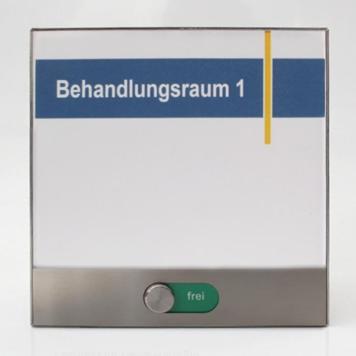 Türschild Edelstahl mit Frei/Belegt Schieber